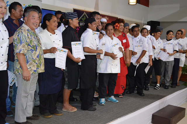 2nd Pacific Agribusiness Forum - Day 2  Samoan chefs with their certificates of participations at the two-day Chefs Training Programme organised by the South Pacific Tourism Organisation (SPTO). To the left, chef Colin Chung, one of the two trainers.